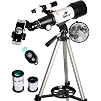 Gskyer 70mm Aperture 400mm AZ Mount Astronomical Refracting Telescope with Carry Bag, Phone Adapter and Wireless Remote