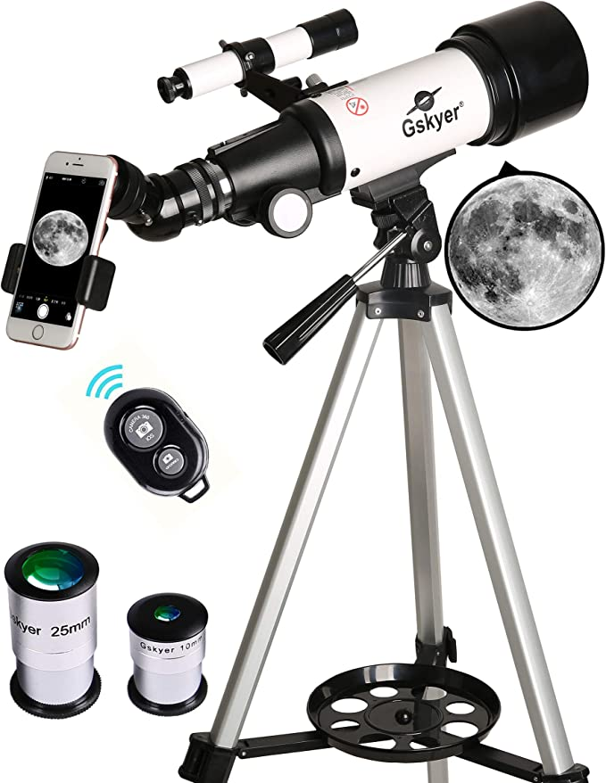 Gskyer Telescope, 70mm Aperture 400mm AZ Mount Astronomical Refracting Telescope for Kids Beginners - Travel Telescope with Carry Bag, Phone Adapter and Wireless Remote   Amazon