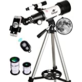Gskyer Telescope, 70mm Aperture 400mm AZ Mount Astronomical Refracting Telescope for Kids Beginners - Travel Telescope with C