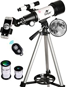 Gskyer Telescope, 70mm Aperture 400mm AZ Mount Astronomical Refracting Telescope for Kids Beginners - Travel Telescope with Carry Bag, Phone Adapter and Wireless Remote