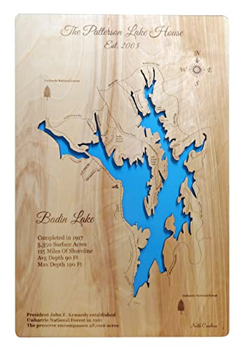 Badin Lake North Carolina: Wood Standout Map Wall Hanging