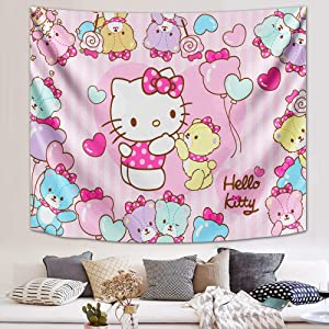 Hello Kitty Tapestry Anime Wall Tapestry for Bedroom Party Decor 59x70in