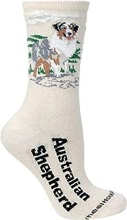 product image for Australian Shepherd on Cream Ultra Lightweight Stretch Large Cotton Crew Socks One
