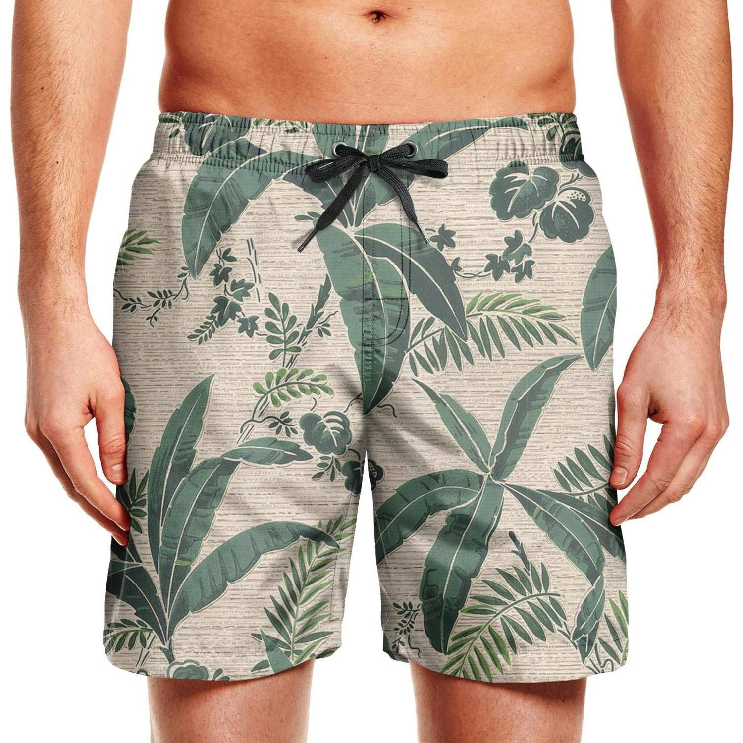 Mens 1 Banana Leaf Swim Trunks Casual Beach Shorts Slim Fit Board Shorts
