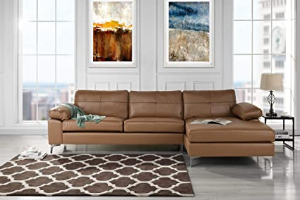 Superbe Leather Sectional Sofa, L Shape Couch With Chaise (Light Brown)