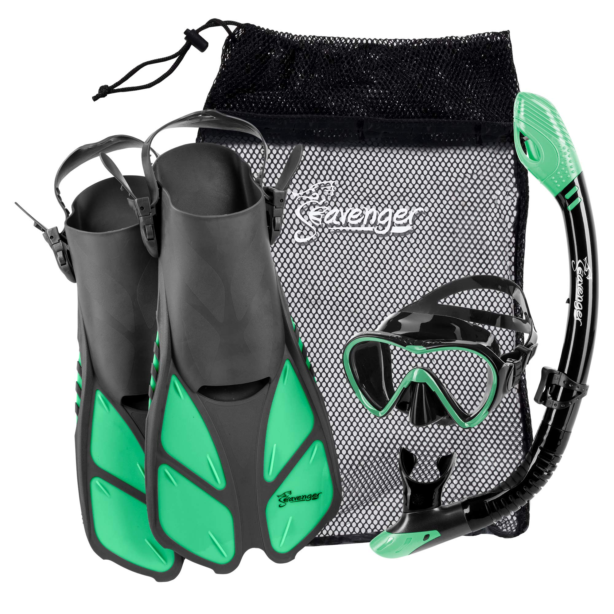 Seavenger Aviator Snorkeling Set with Gear Bag (Gray/Black Silicone/Peppermint, S/M) by Seavenger