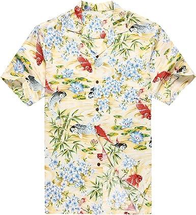 Hecho en Hawaii Camisa Hawaiana de los Hombres Camisa Hawaiana 3XL Rojo Negro Pescado koi Floral Amarillo: Amazon.es: Ropa y accesorios