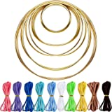 Hestya 10 Pieces Metal Rings Hoops with 10 Pieces 3 mm Faux Suede Cord String for Dream Catcher