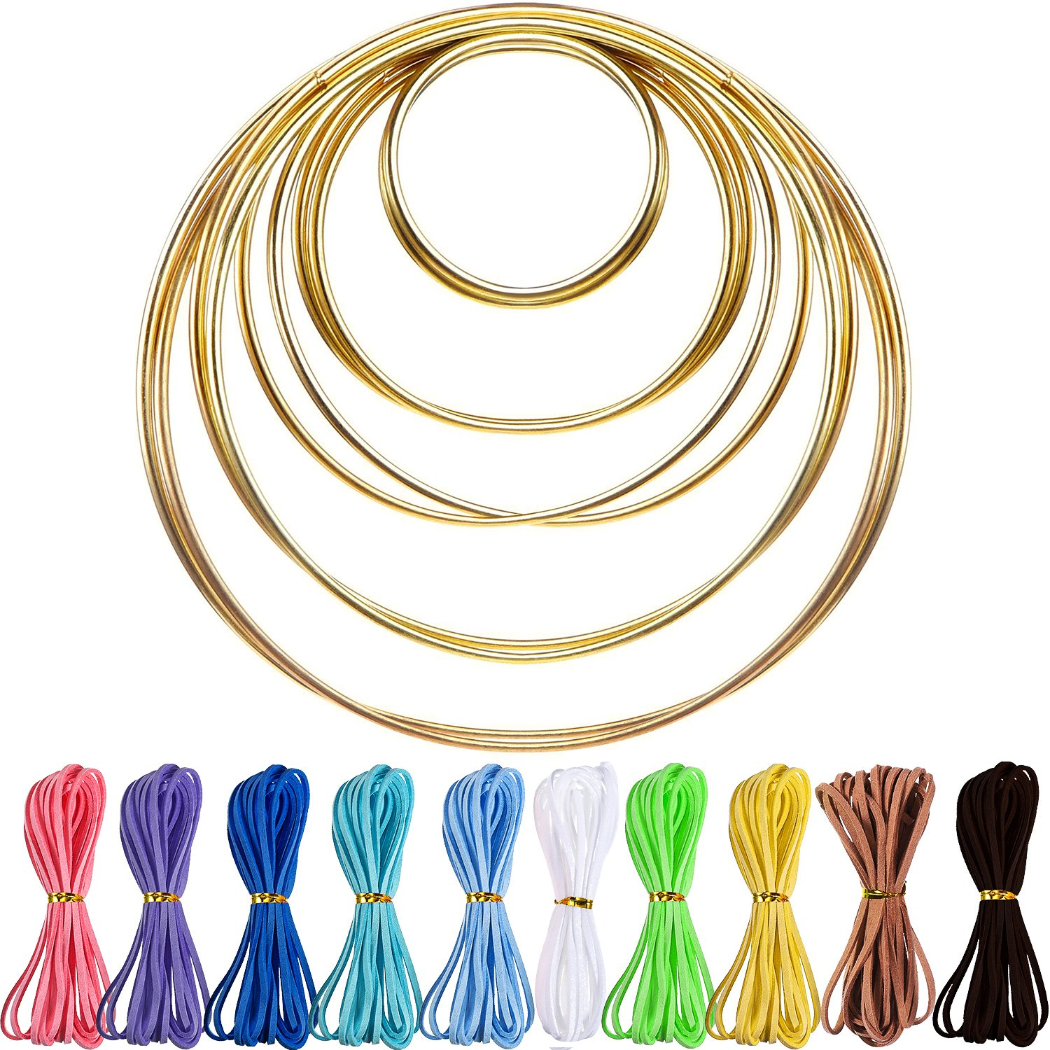 10 Pieces Metal Rings Hoops with 10 Pieces 3 mm Faux Suede Cord String for Dream Catcher Hestya