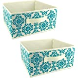 "DII Fabric Storage Bins for Nursery, Offices, & Home Organization, Containers Are Made To Fit Standard Cube Organizers (11x11x5.5"") Scroll Teal - Set of 2"