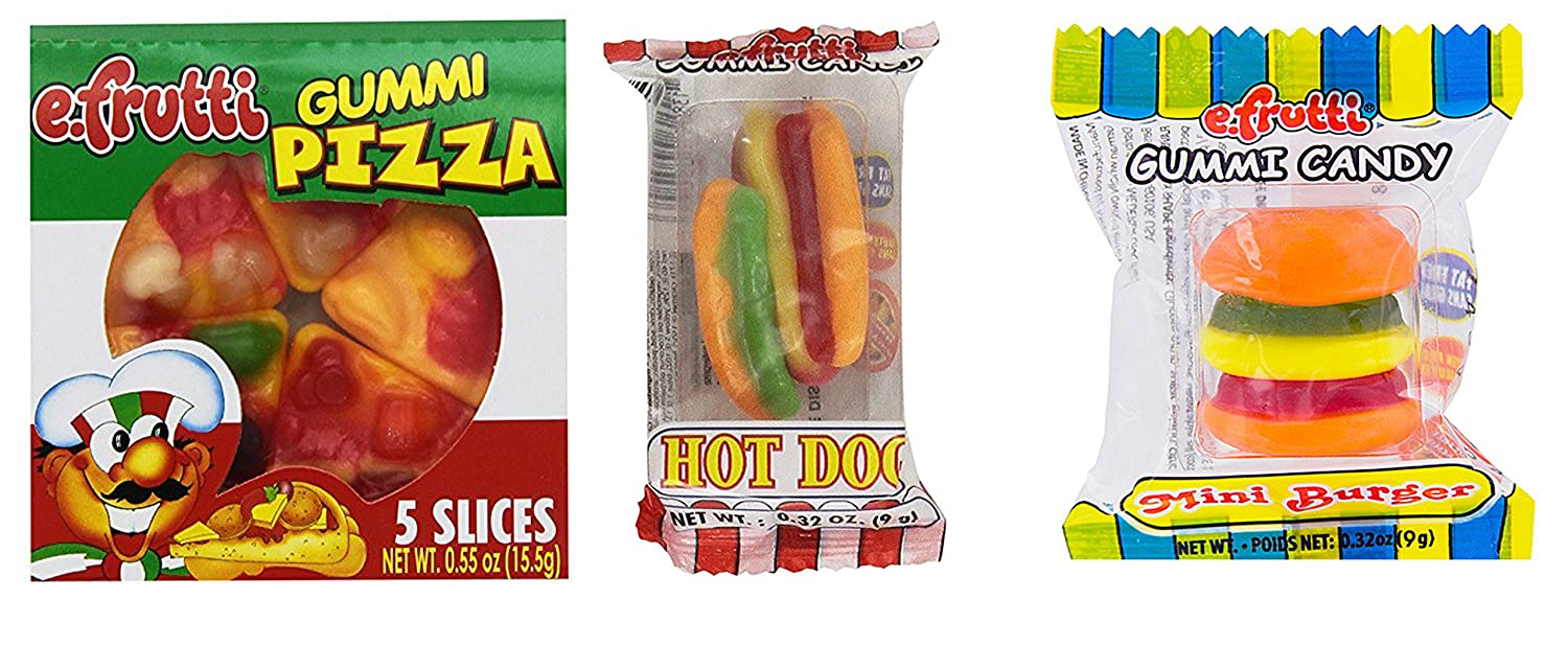 eFrutti Gummi Candy Party Pack: 4 Pizzas, 10 Mini Burgers, 10 Hot dogs ~ Smarty Stop
