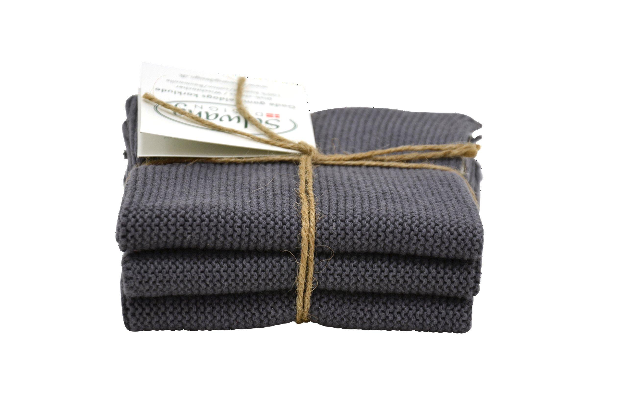 Solwang Danish Cotton 100% Eco-Tex Certified Dishcloths (3, Steel Grey Trio)