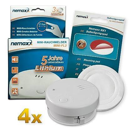 4X Detector de Humo Nemaxx Mini-FL2 Mini Detector de Fuego y Humo Detector con batería ...