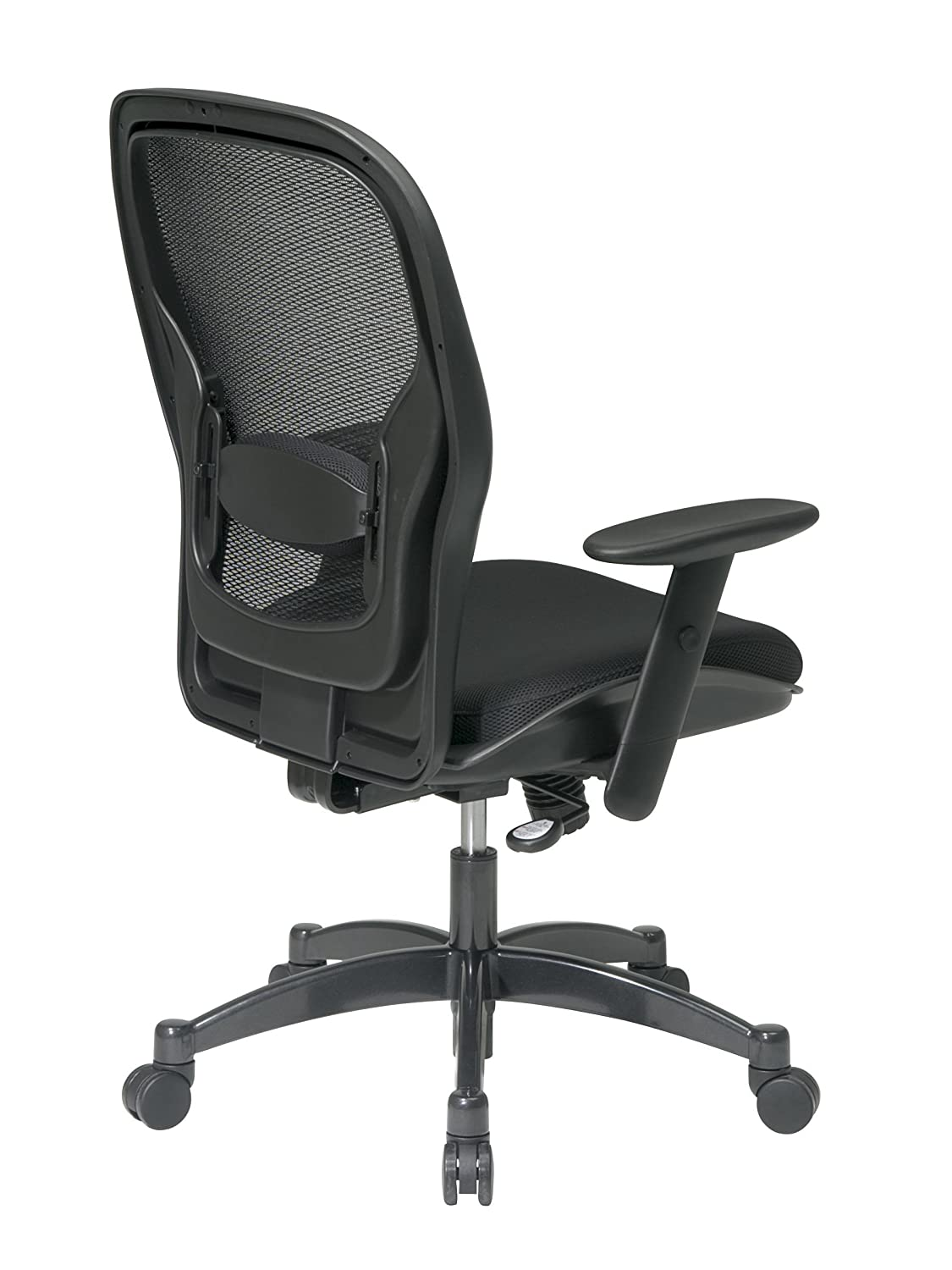 Office chair back view - Amazon Com Space Seating Breathable Mesh Black Back And Padded Mesh Seat 2 To 1 Synchro Tilt Control Adjustable Arms And Lumbar Support With Gunmetal