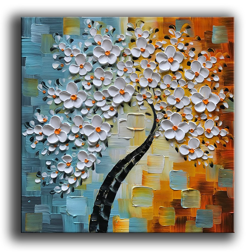 Hand-Painted Oil Painting On Canvas White Flowers Paintings Modern Home Interior Decor Abstract Art Picture Ready to Hang 24x24inch YS-0019-24x24inch YaSheng Art