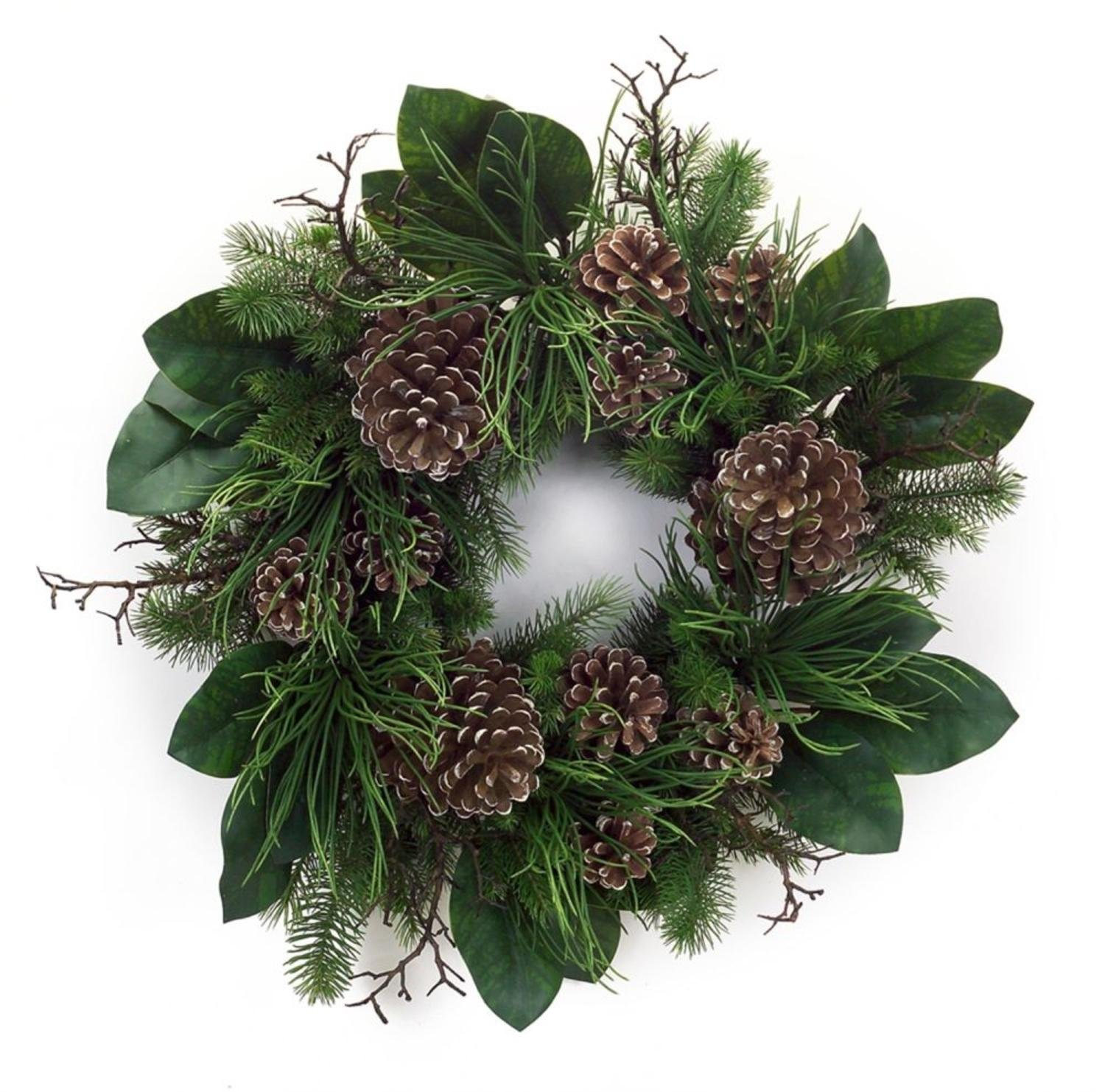 """Pack of 2 Winter Garden Decorative Artificial Fir Greenery with Pinecone Wreath 30"""""""