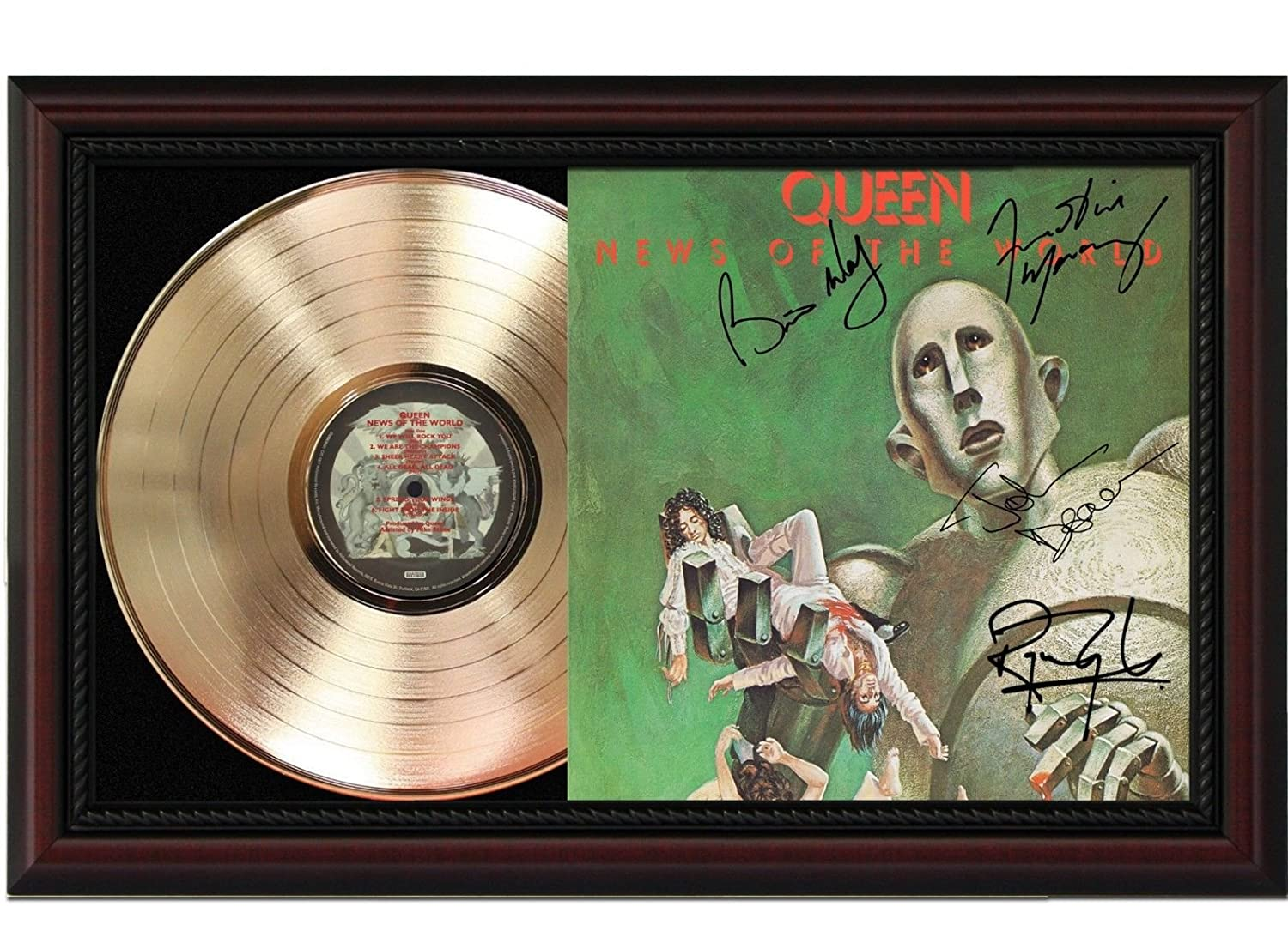 Queen News of the World Cherrywood Framed Gold Signature Display M4