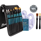 Bianyo Artist Paint Brush Set with Palette and Zippered Black Carry Pouch