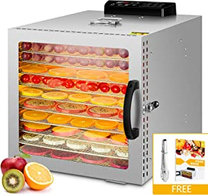 Food Dehydrator, 12 Layers Commercial Stainless Steel Fruit Dehydrator, 1000W Professional Adjustable Temperature Control and 0~24 Hours Digital Timer Food Dryer Household with Glass Window and 67 Recipes