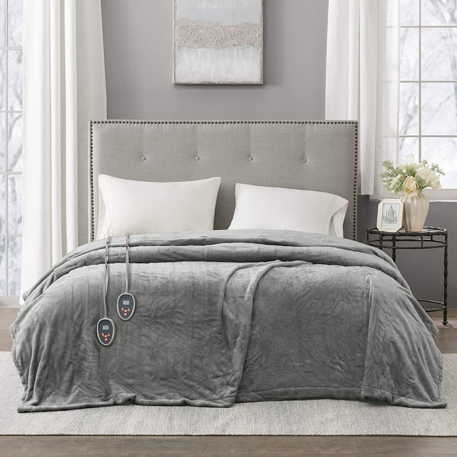 Beautyrest Plush Elect Electric Blanket with Two 20 Heat Level Setting Controllers equip with Secure Comfort Technology and 10 Hours Auto Shut Off, King, Grey