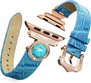 BaiHui Leather Watch Band Compatible with Apple Watch 38mm 40mm Series 5/4/3/2, Genuine Leather with Bling Crystal Diamonds Replacement Watch Strap for Women/Girls