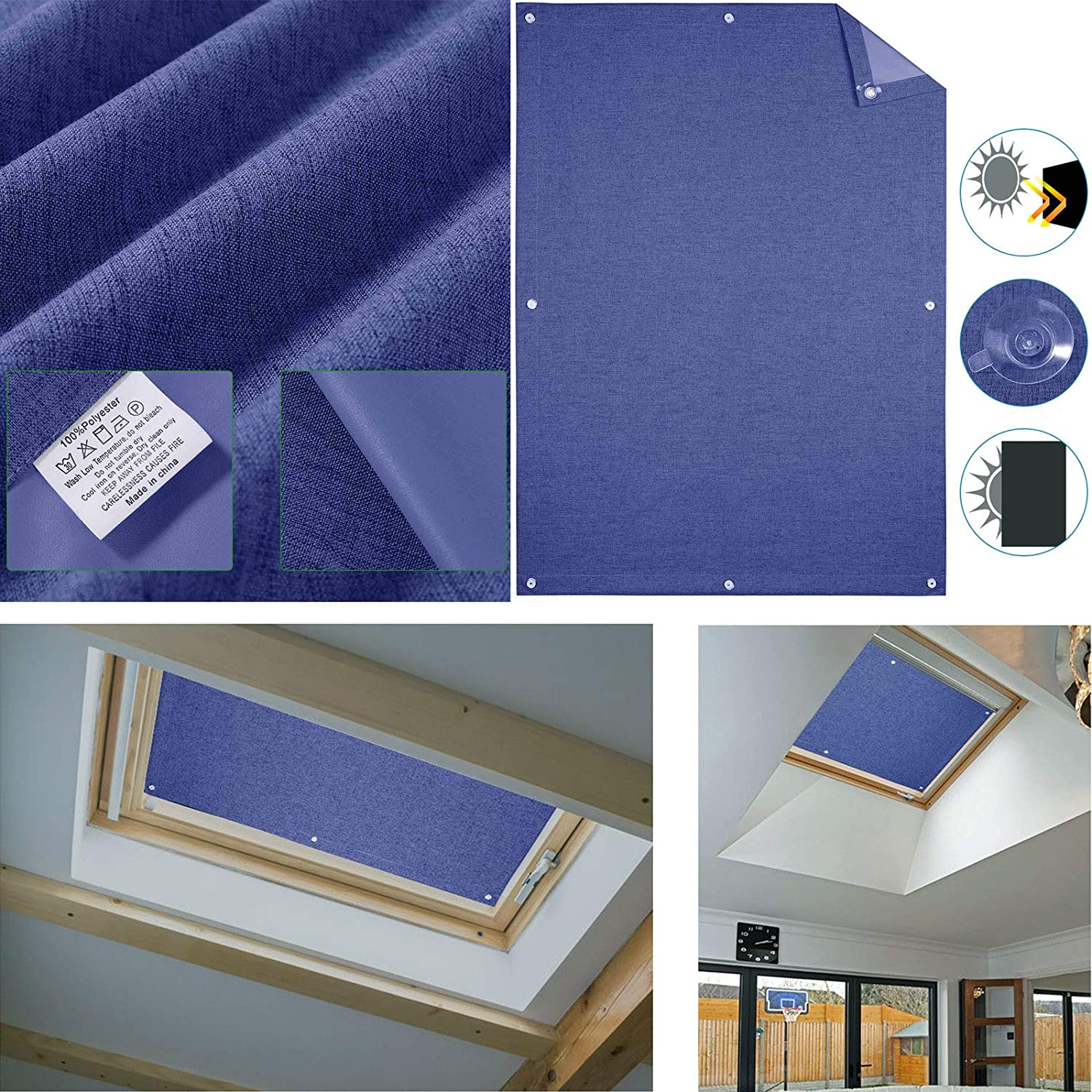 HDM 96 Windows Balcony 93cm Dark Gray Roof Window Roller Blinds Blackout Blind Sun /& Visual Protection for Velux roof Windows