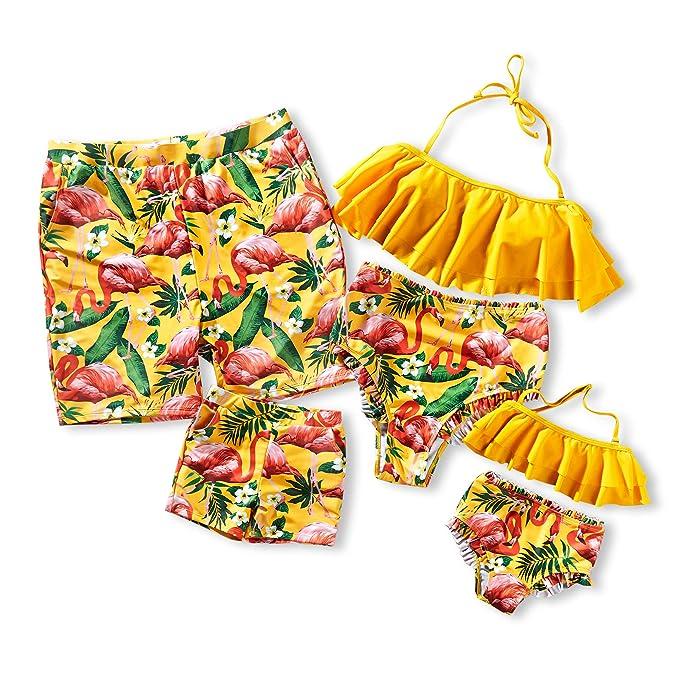 e257d87533 Yaffi Two Piece Off Shoulder Bikini Top Family Matching Swimwear Newest  2019 Swimsuits Women  S