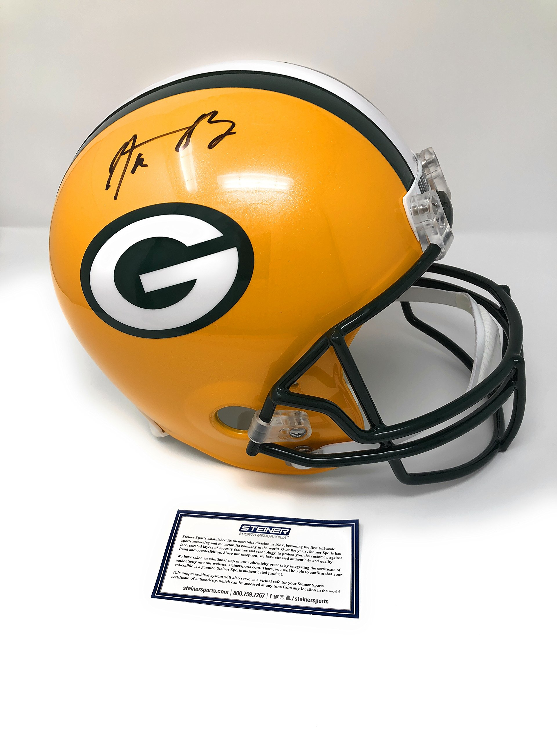 Aaron Rodgers Green Bay Packers Signed Autograph Full Size Helmet Steiner Sports Certified