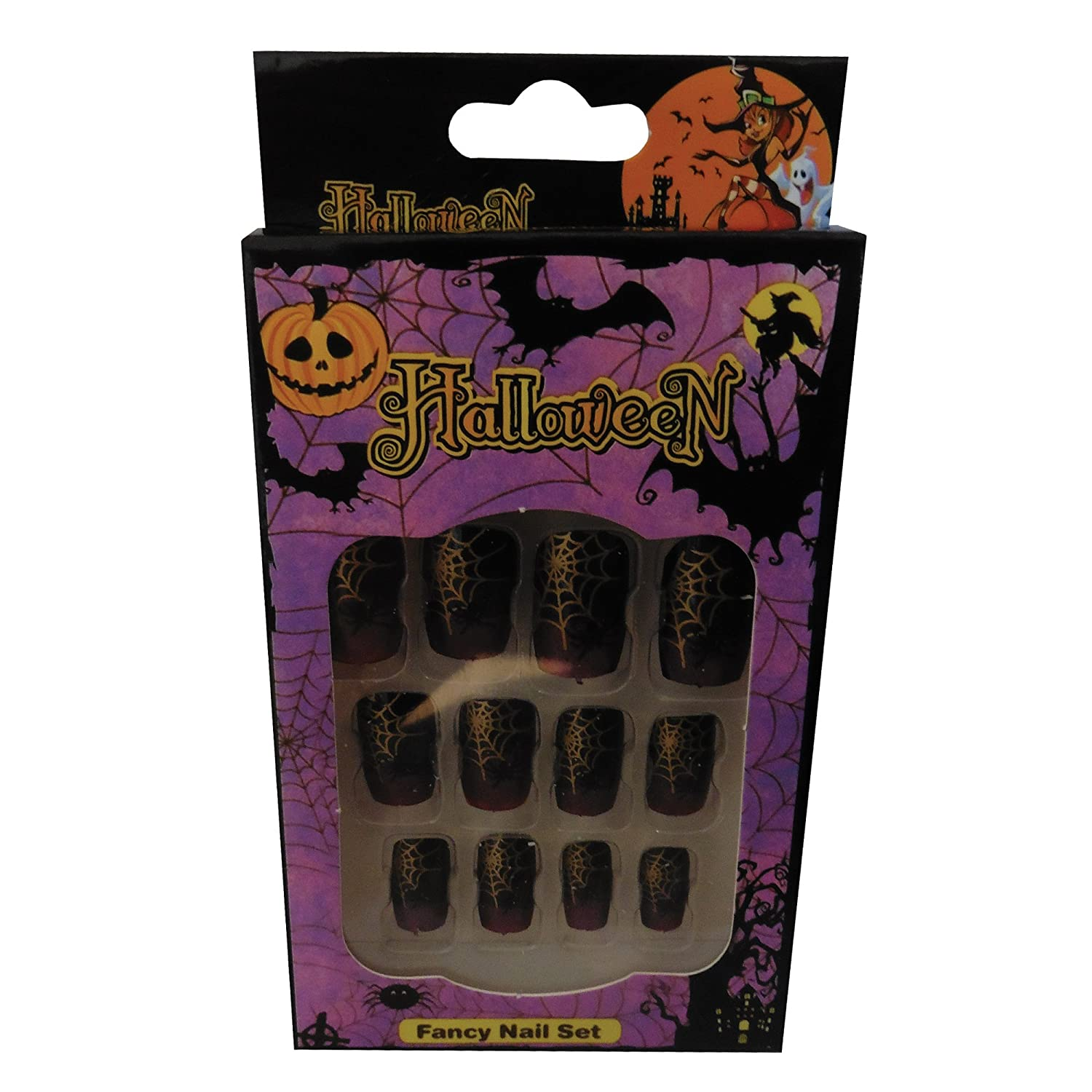 12 Halloween Themed Fake Nails with Glue (HN6) Komonee