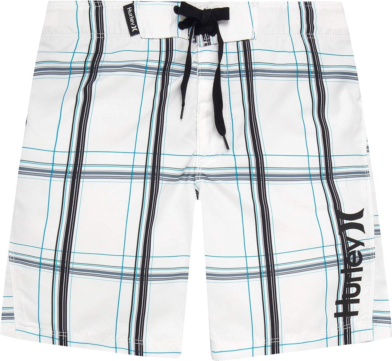 White Plaid Hurley Boys Big Classic Board Shorts 12