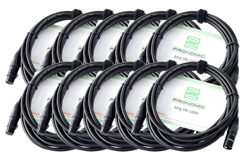 10er Set Pronomic XFXM-5 Mikrofonkabel (5m Länge, XLR female 3-pol -> XLR male 3-pol, Stecker handgelötet, säure- und ölfest, Spannzangen-Zugentlastung) schwarz Stecker handgelötet säure- und ölfest