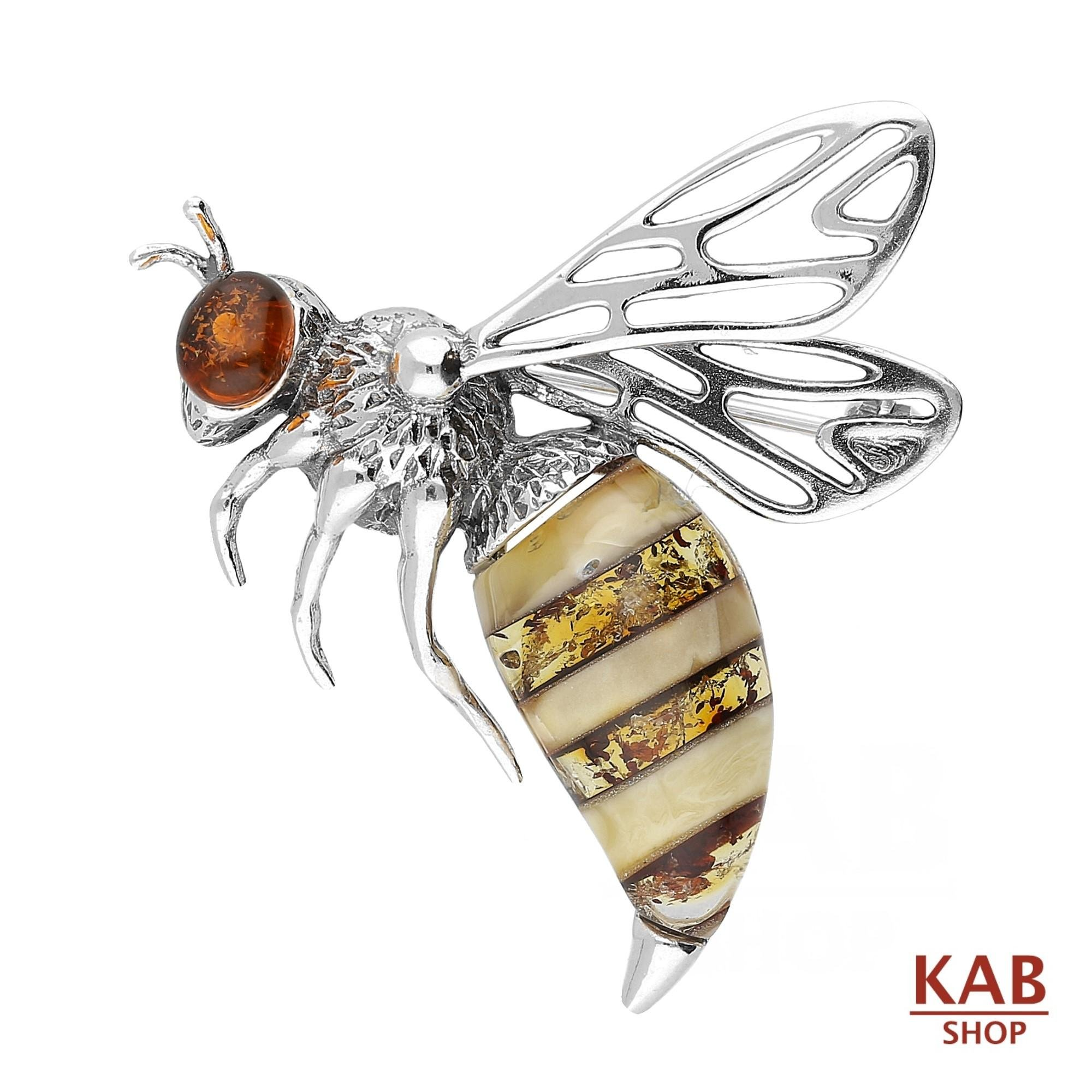 BALTIC AMBER STERLING SILVER 925 JEWELRY BEE BROOCH/PIN, KAB-166 by KAB (Image #3)