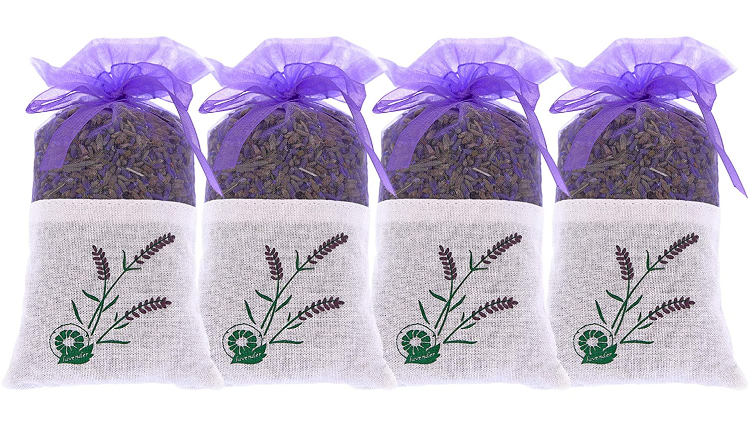 Pure Lavender Scent - 4 Sachet of 20 grams 100% Pure Dried Lavender Buds - Fragrance for Aromatherapy - Car - Closet - Drawers - Moths - Wardrobe The Lavender Collection