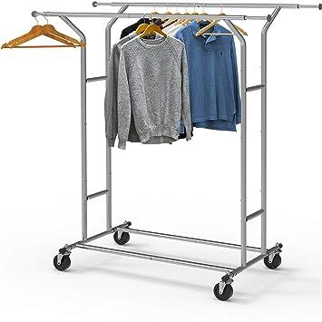 Amazon.com: Estante para ropa con doble carrillera para ...