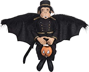 GALLERIE II Macbeth Monkey Art Doll Figure Halloween Fall Harvest Art Doll Figure Décor Decoration Black
