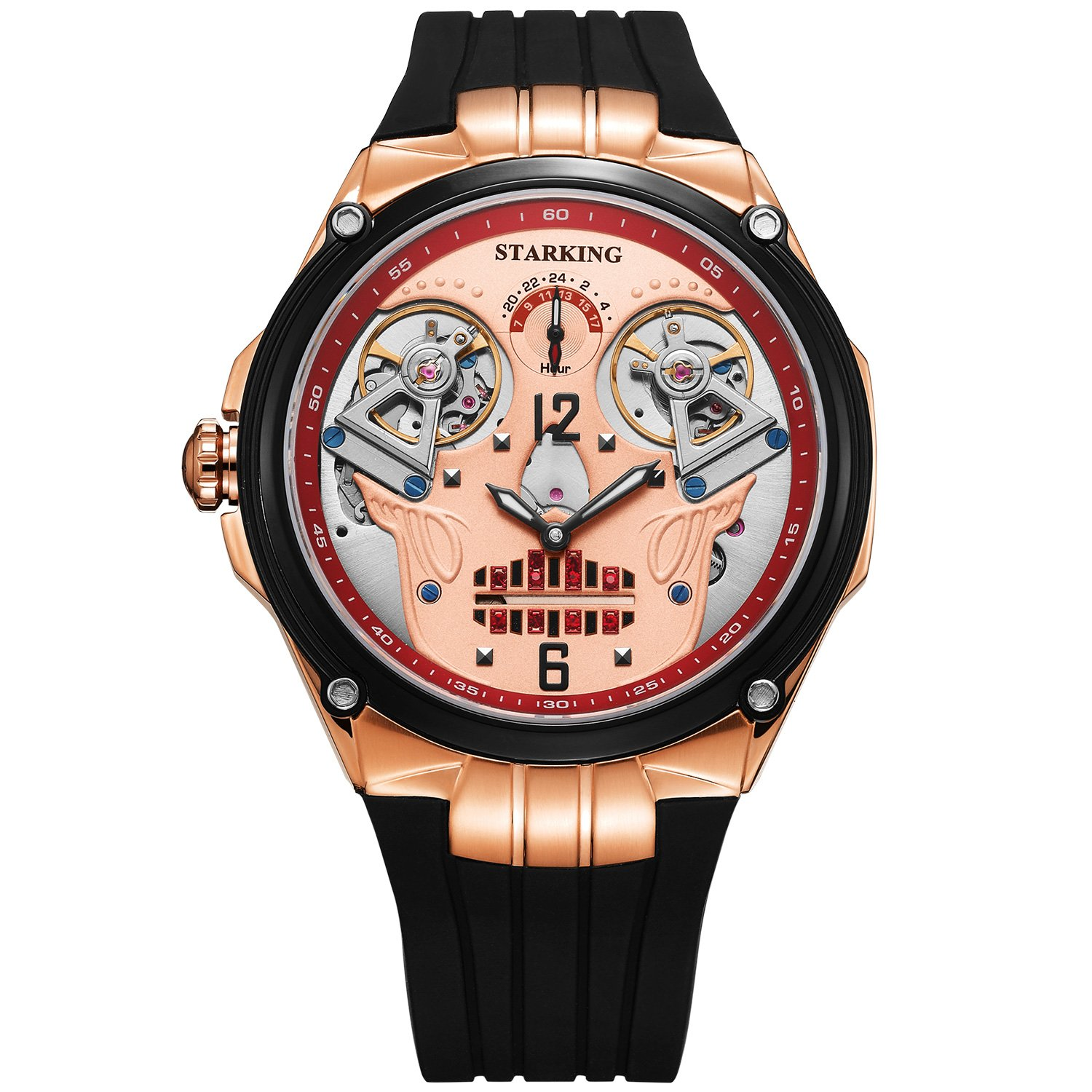 STARKING Skull Watch Black Men Automatic AM0223 Rose Gold Double Tourbillon Waterproof 5ATM Luminous Hands Silicone Band Sapphire 47mm Halloween Gift