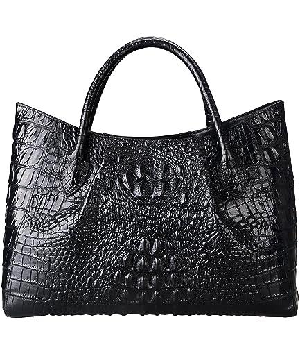 4e3ad0bc80c5 PIJUSHI Women Handbags Crocodile Top Handle Bag Designer Satchel Bags For  Women (22198 black)