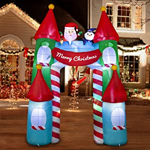 SEASONJOY 10Ft Christmas Inflatable Archway Castle with Color Changing Lights,Outdoor Inflatable Christmas Decorations with Built-in Lights, Christmas Blow up Decor for Yard Lawn Garden