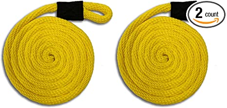 "3//8/"" x 8/' Solid Braid Nylon Yellow Fender Lines Made in USA"