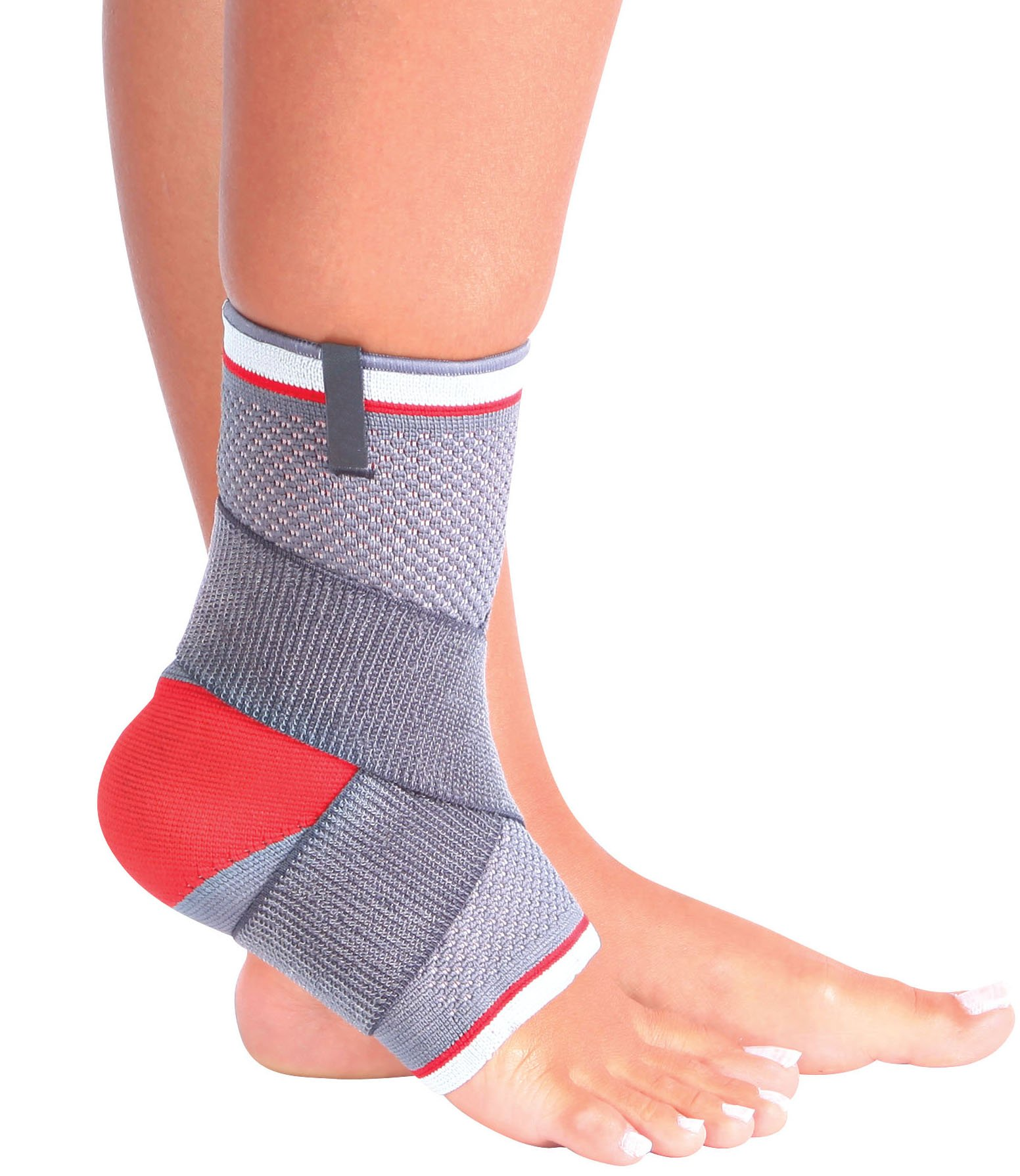 ORTONYX Ankle Support Brace Compression Sleeve - M Gray/Red