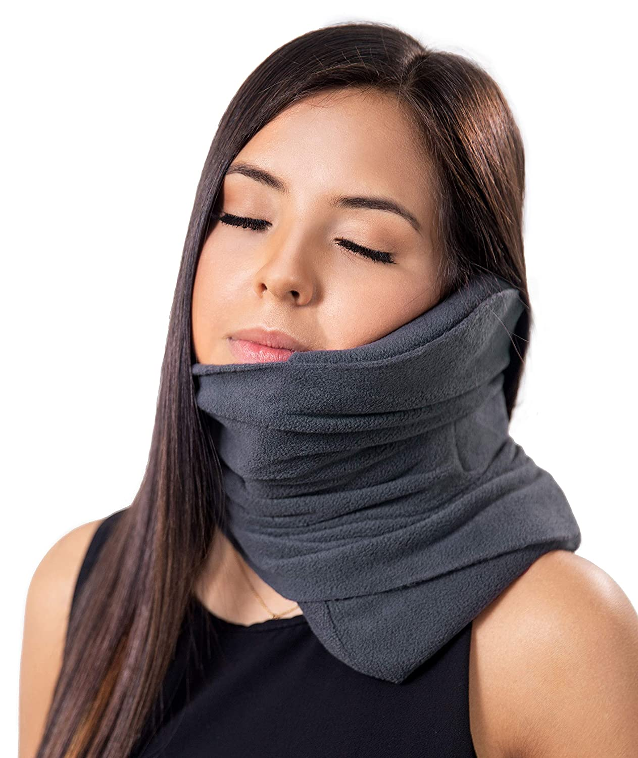 Goose Scarf Travel Pillow Neck Support for Airplane - Scientifically Proven Nap Scarf for Long Haul Sleep - Adjustable, Ultralight, Super Soft & Machine Washable Wrap-Around Neck Pillow (Grey) Goose Travel