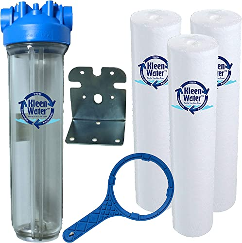 KleenWater Premier 4520 Water Filter System – Transparent Clear Housing – 1.5 Inch Inlet Outlet – 40 GPM with Bracket, Wrench and Three KW4520G Meltblown 5 Micron Sediment Cartridges