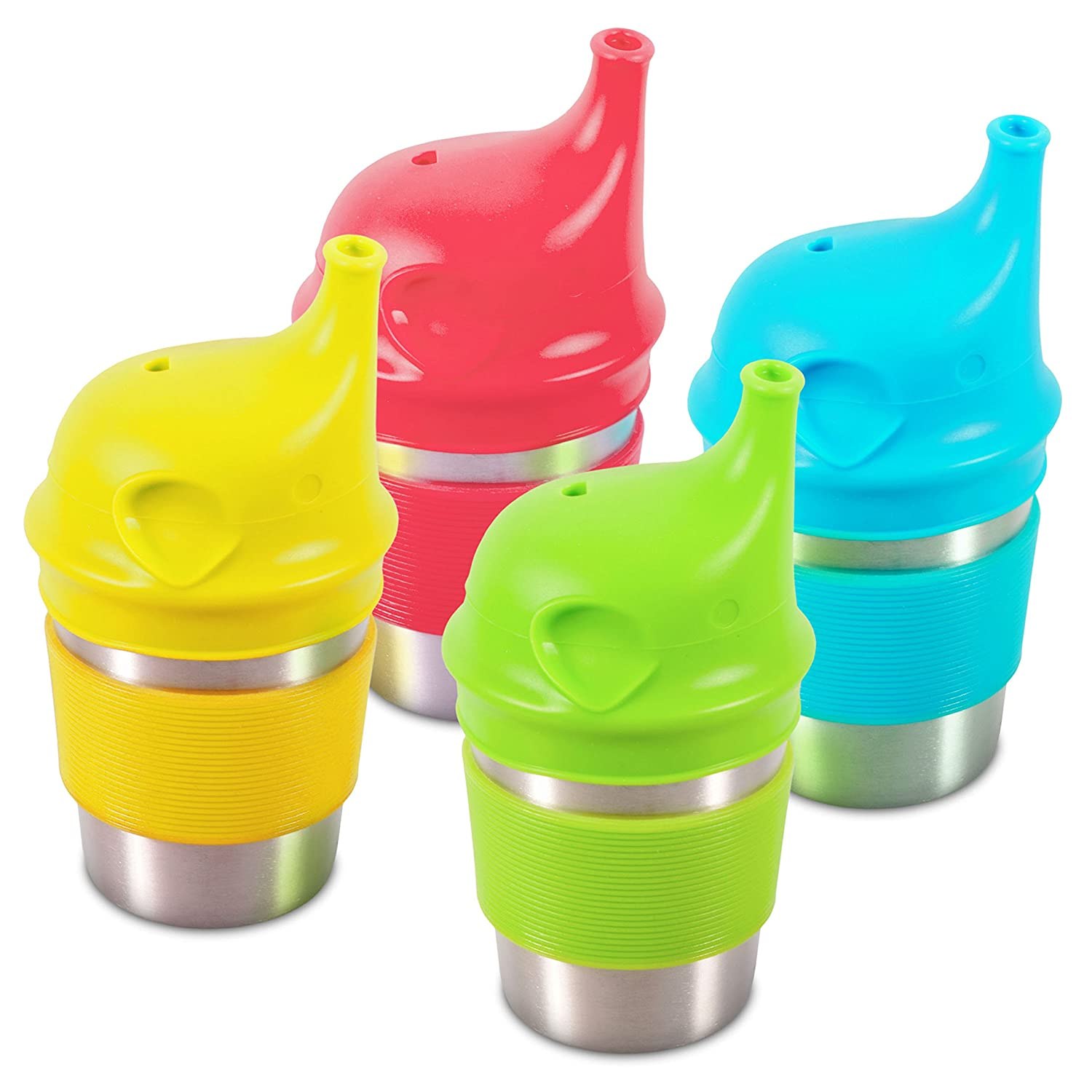 Sippin' Steel Stainless Sippy Cups for Toddlers with Silicone Grip and Lid, 8oz (4-Pack)