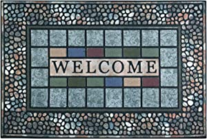 CHICHIC Entrance Door Mat Entry Way Doormat Front Door Rug Outdoor Heavy Duty Welcome Mat, Non Slip Rubber Back Low Profile for Garage, Patio, High Traffic Area, Large 24 x 36 Inch (Rectangle Style A)