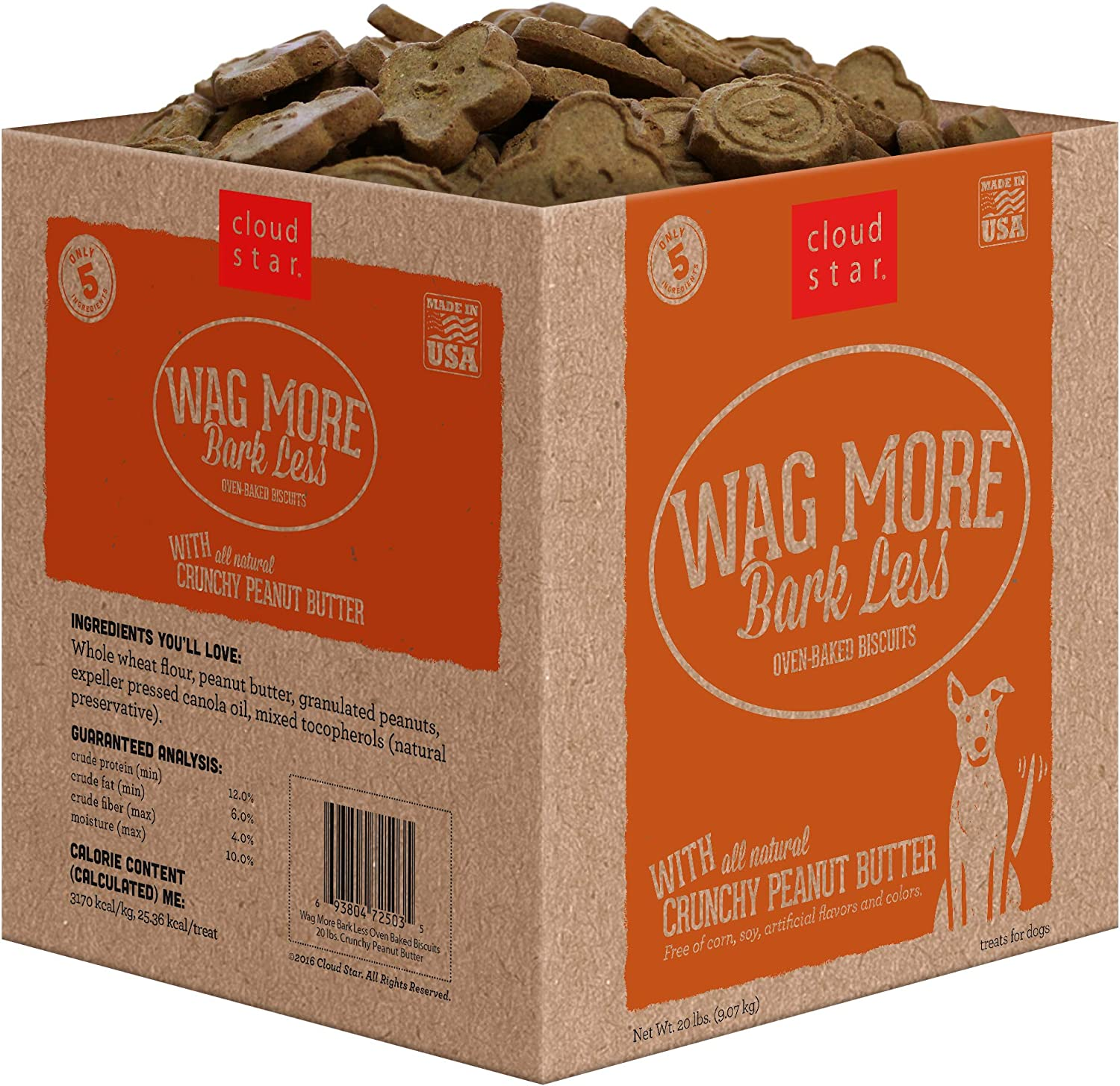 Cloud Star Wag More Bark Less Oven Baked, Crunchy Dog Treats, Limited Ingredients & Baked in the USA
