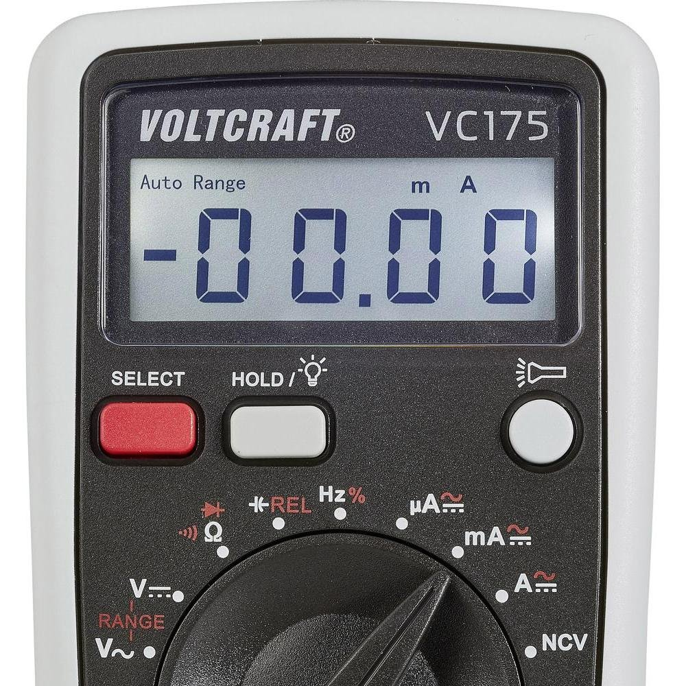 Ltd. Capacitance Voltcraft Multimeter VC175 Digital Handheld for AC DC Current Frequency amd Duty Cycle Measurement; 4000 Counts with Flashlight and Backlight; CAT III 600 V Including 9V Battery CEI Conrad Electronic International HK