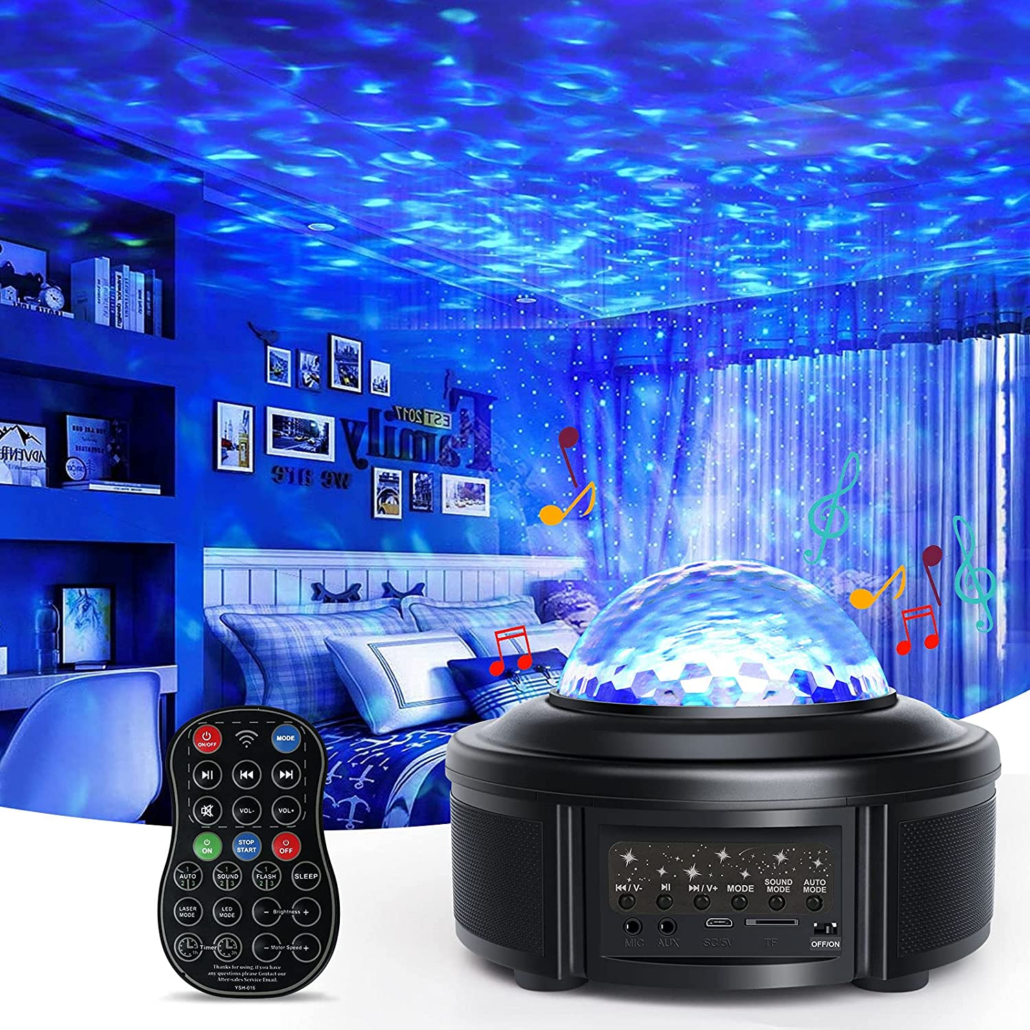 Star Projector, Galaxy Projector with Bluetooth Music Speaker, Remote Control & Timing Night Light Projector for Kids Baby Starry Sky Light for Bedroom/Party/Home/Room Decor