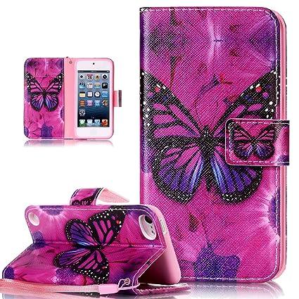 Kompatibel mit iPod Touch 6G Hülle,iPod Touch 5G Hülle,Bunte Gemälde Gemalt PU Lederhülle Flip Hülle Cover Ständer Karten Slo