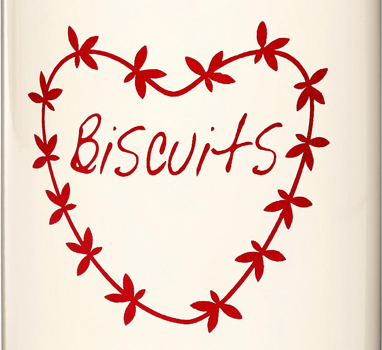 Metallo Beige//Rosso Premier Housewares 0507621 Anglaise Contenitore per Biscotti