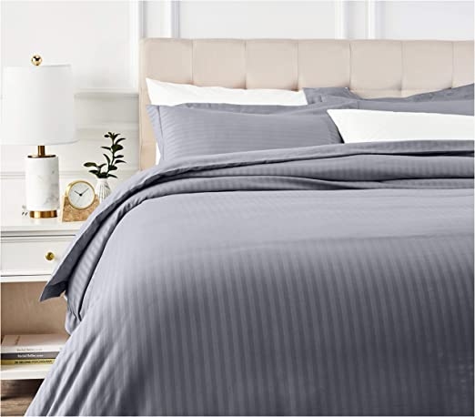 Amazon Basics Striped Microfiber Duvet Cover Set - King, Dark Grey